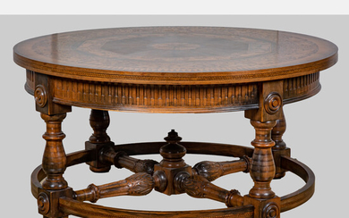 Regency Style Fruitwood, Mahogany and Rosewood Marquetry Inlay Center Table