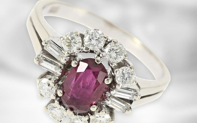 Ring: beautiful vintage ruby ring with diamonds, total ca. 1,6ct, 14K white gold