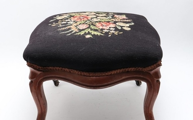 Rococo Manner Needlepoint and Walnut Stool