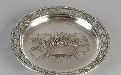 Round silver bowl, 800/000, with flower basket. With