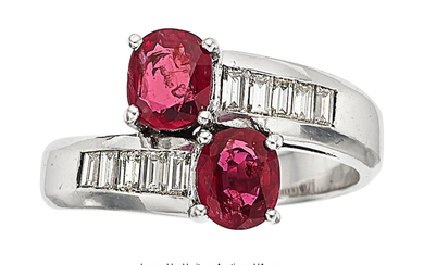 Ruby, Diamond, White Gold Ring The bypass ring features...