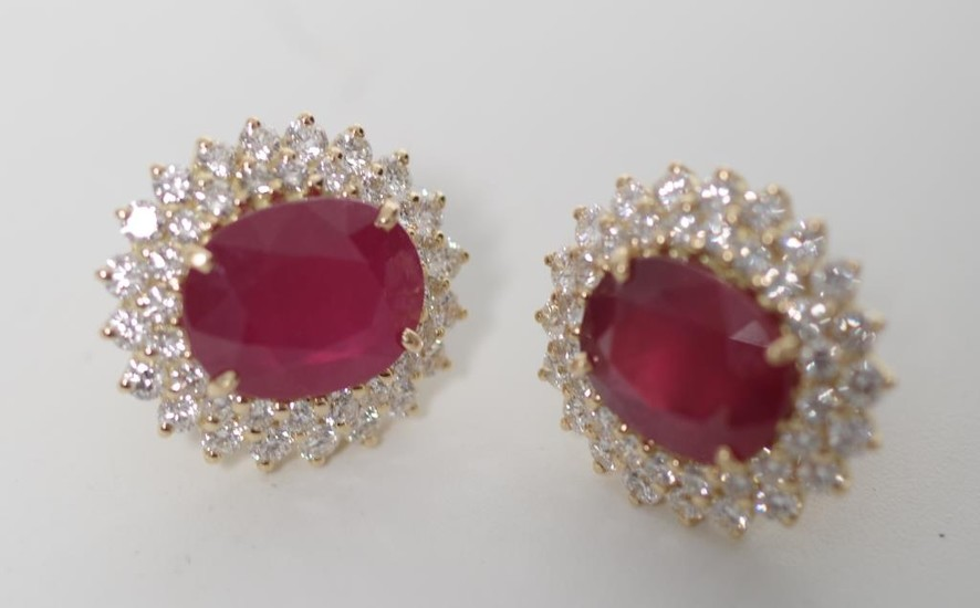 Ruby, diamond and 18ct yellow gold earrings in a cluster stu...