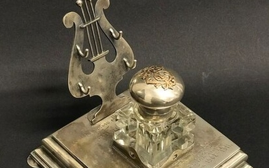 Russian Silver 84, Crystal and Gold Inkwell- Silver gold crystal - Russia - Early 20th century