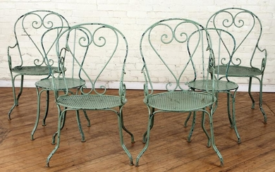 SET 6 FRENCH PAINTED IRON GARDEN CHAIRS C.1920