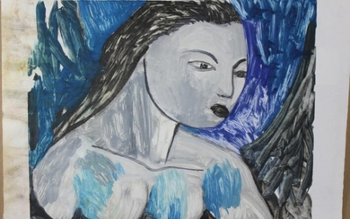 SIGNED PORTRAIT IN WATER COLORS PAINTING Signed Size: 24.in....