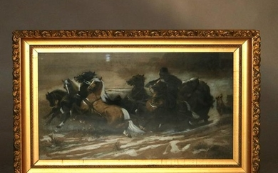 """Schreyer Pastel Print of """"Chased by Wolves"""" in Giltwood"""