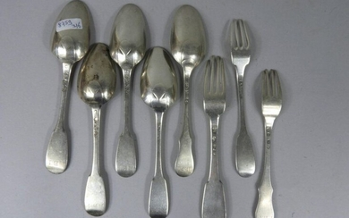 Set of five silver spoons and three forks XVIIIth century, single flat model, weight : 460gr