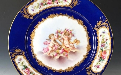 Sevres Hand Painted Cabinet Plate, c.1873