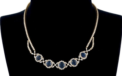 Siam sapphires and diamond necklace