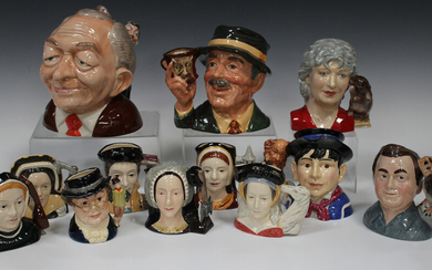 Six small Royal Doulton character jugs representing Henry VIII's six wives, three other Royal D