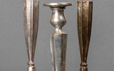 Sterling Silver Fluted Candlesticks, 3