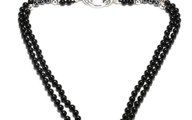 Sterling Silver and Onyx Bead Necklace, Charles Krypell