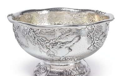 THE BENNETT CUP: AN AMERICAN PARCEL-GILT SILVER PUNCH BOWL YACHT TROPHY, TIFFANY & CO., NEW YORK, DATED 1883