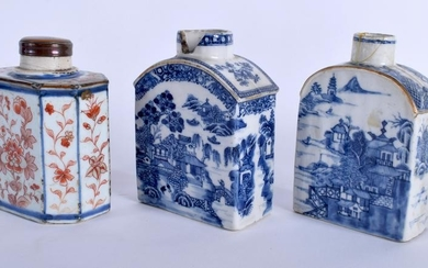THREE 18TH CENTURY CHINESE TEA CANISTERS. Largest 8 cm