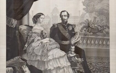 The Imperial Family, intaglio portrait woven by Carquillat after Winterhalter, 1858
