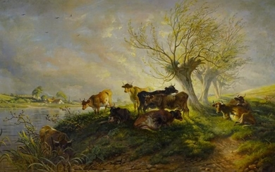 Thomas George Cooper (1836-1901). River landscape with cattle, oil...