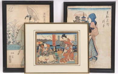 Three Japanese Woodblocks, Yoshikazu, Kunisada