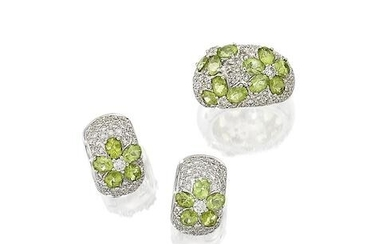 Tourmaline and Diamond Ring and Earring 'Floral' Suite