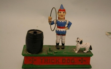 Trick Dog cast iron mechanical bank by Hubley of