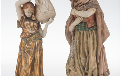 Two Austro-Hungarian Painted and Partial Gilt Porcelain Figures (early 20th century)