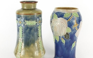 Two Doulton Lambeth vases, impressed factory marks and