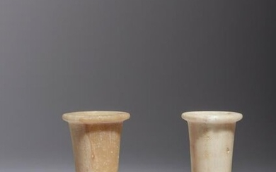 Two Egyptian Alabaster Columnar Vessels Height of