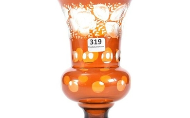 Vase, Amber Flashed Bohemian W/Engraved Floral Decor