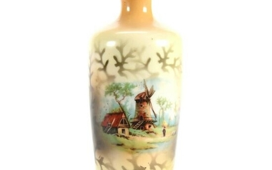 Vase, Unmarked Prove Saxe, Mill & Cottage Scenes