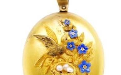 Victorian yellow gold locket with applied enamel forget me n...