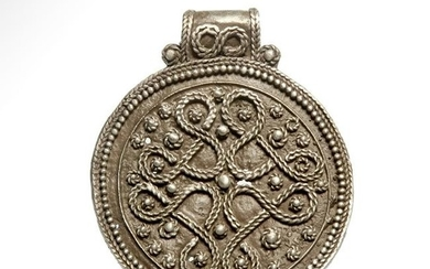 Viking Silver Pendant with Interlaced Filigree, c.