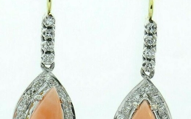 Vintage 14k White and Yellow Gold Pink Coral and