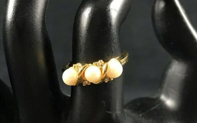 Vintage Faux Seed Pearl Cocktail Ring