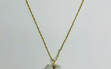 Vintage Opal and Diamond Flower Pendant 14K Yellow Gold