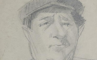 William Barnett, Portrait of Man in Cap, Graphite