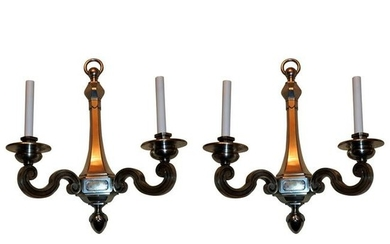 handsome Pair Silvered Bronze Caldwell Regency