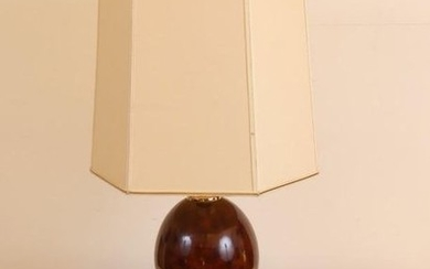 1 large table lamp, flake patinated egg, France...