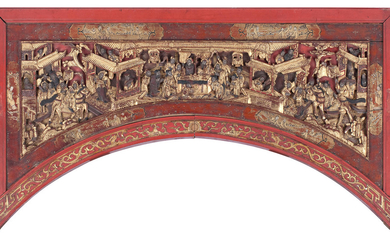 A carved, gilded and painted wood frieze