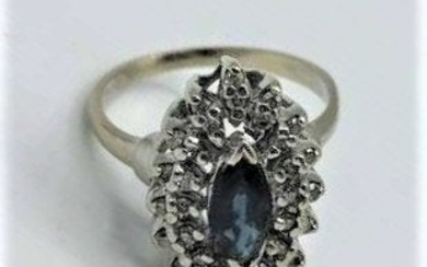 14 K Gold Blue Sapphire and Diamonds Ring Size 5.5