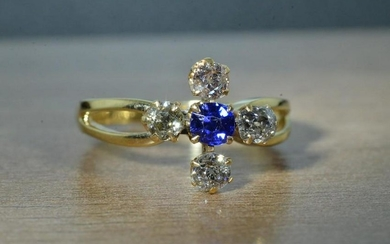 14 KT Yellow Gold Sapphire and Diamond Cocktail Ring