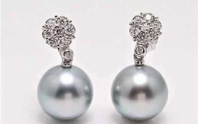 14 kt. White Gold - 12x13mm Round Tahitian Pearls