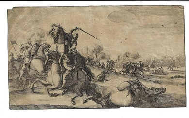 17th C Old Master Engraving of a Battle