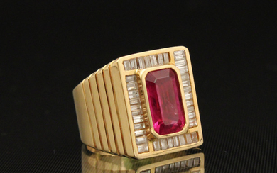 18K Y/G DIAMOND AND RUBY MAN'S RING; 16.3 GR TW