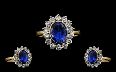 18ct Gold and Platinum Superb Quality - Blue Tanzanite and D...