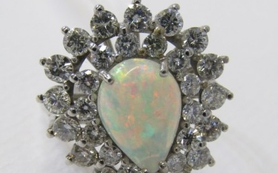 18ct WHITE GOLD OPAL & DIAMOND CLUSTER RING, principal pear ...