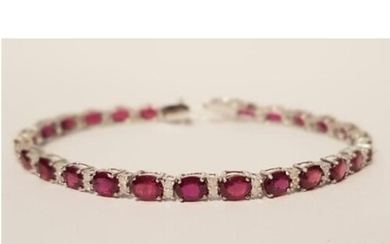 18ct white gold Ruby and Diamond Tennis bracelet 18cts of ve...