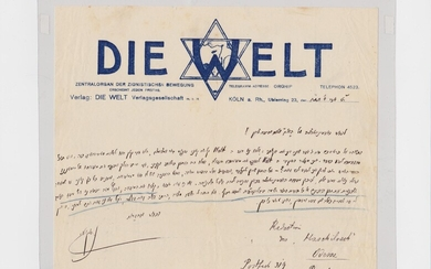 1910 C.E. Letter from Nahum Sokolov on De Welt letterhead to the Hashiloach administration, thus to Dr. Joseph Klausner]