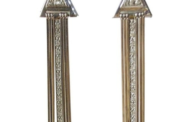 1980s 14 Karat White Gold Diamond Fringed Disco Earrings