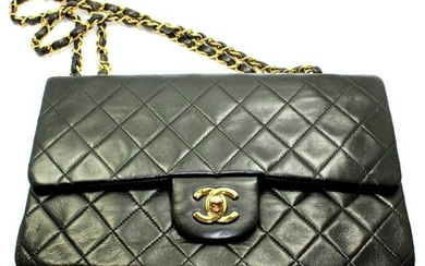 1994 Chanel M Black Quilted Lambskin Double Flap Red