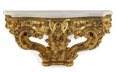 19TH C. ITALIAN GILTWOOD MARBLE TOP CONSOLE