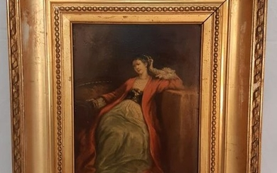 19TH C. OIL ON BOARD PAINTING OF SEATED LADY